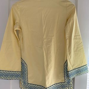 Tops - Yellow tunic with blue embroidery by TS Dixon.